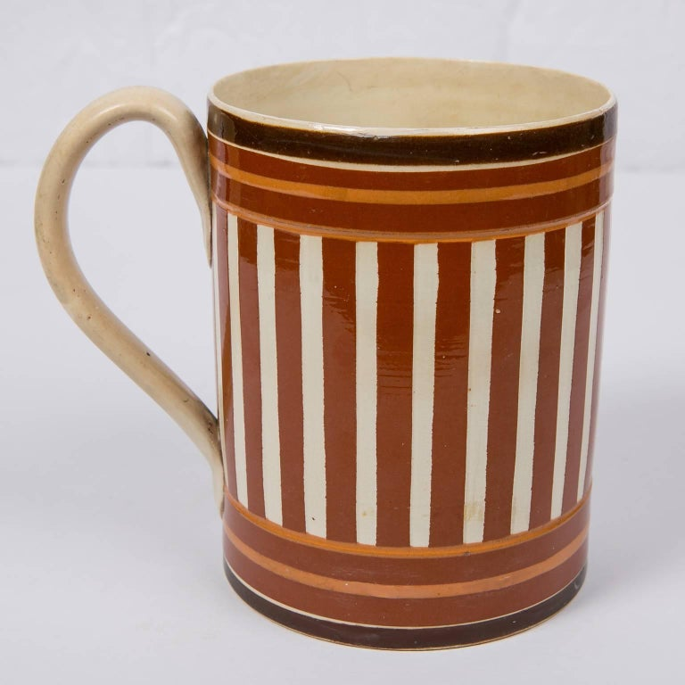 English Antique Creamware Mochaware Mug with Stripes For Sale