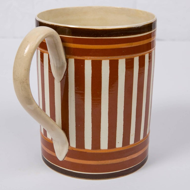 Folk Art Antique Creamware Mochaware Mug with Stripes For Sale