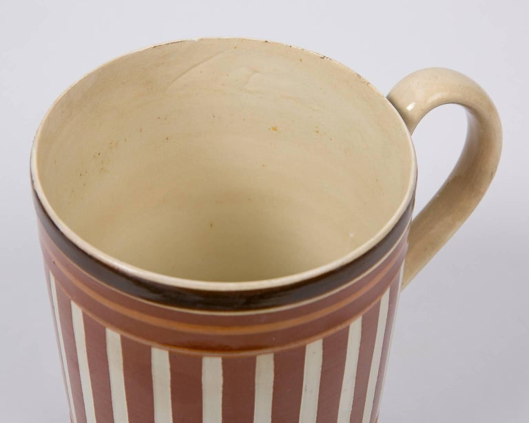 19th Century Antique Creamware Mochaware Mug with Stripes For Sale