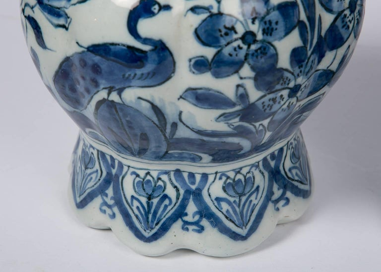 Pair Blue and White Dutch Delft Vases Showing Peacocks 6