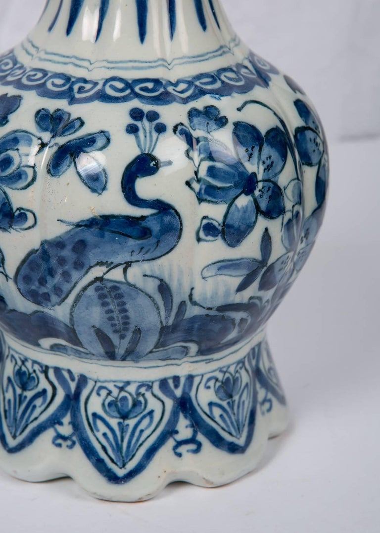 Pair Blue and White Dutch Delft Vases Showing Peacocks 5