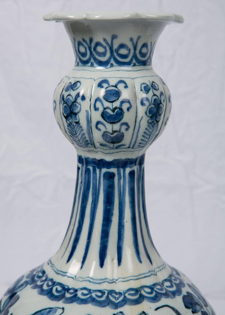 Pair Blue and White Dutch Delft Vases Showing Peacocks 8