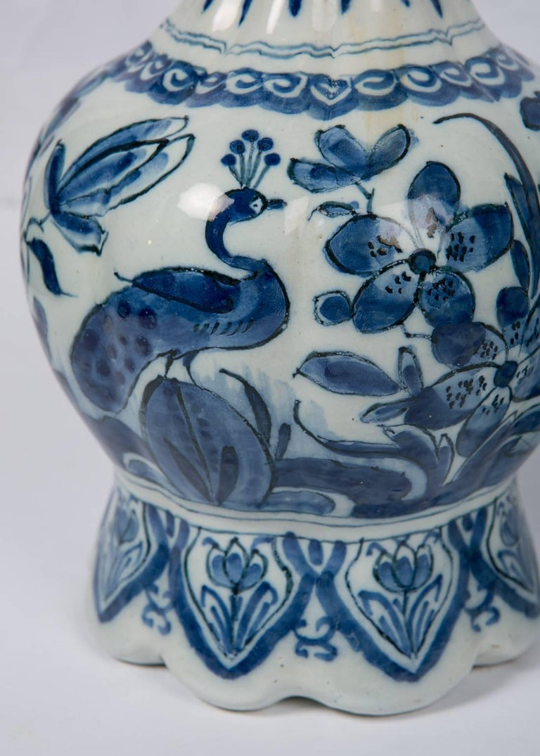 Pair Blue and White Dutch Delft Vases Showing Peacocks 4