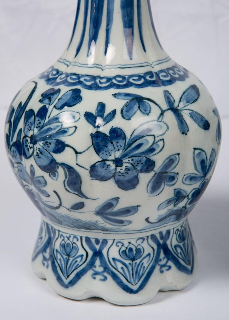 Pair Blue and White Dutch Delft Vases Showing Peacocks 3