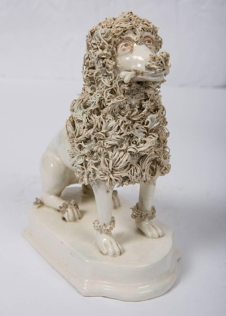 Glazed Antique Creamware Dogs Made by Nove di Bassano Made in Italy circa 1820 For Sale