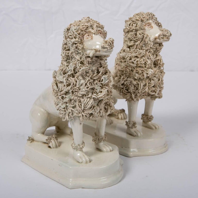 Rococo Antique Creamware Dogs Made by Nove di Bassano Made in Italy circa 1820 For Sale