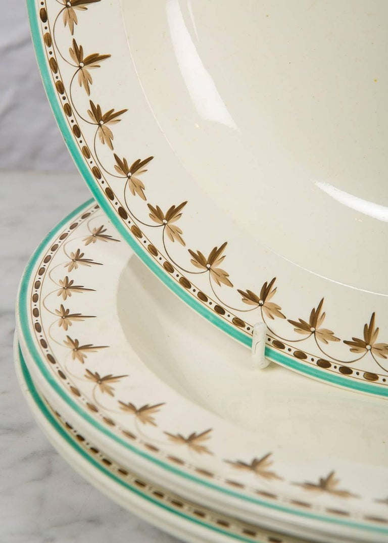 Neoclassical  Wedgwood Creamware Soup Dishes from 18th Century, Set of 11 For Sale