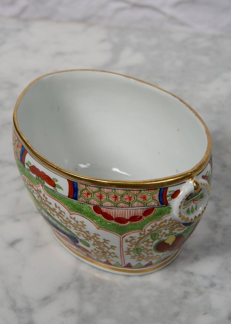 19th Century Antique Sugar Box Made by Chamberlains Worcester Bengal Tiger Pattern For Sale