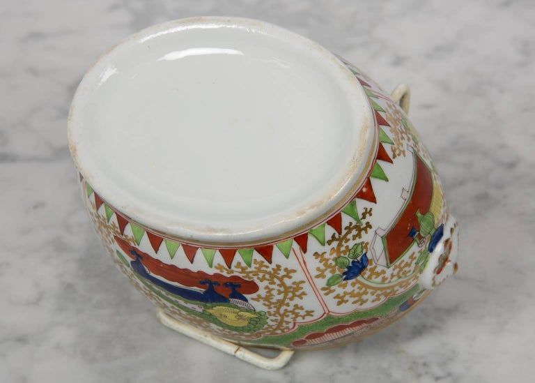 Antique Sugar Box Made by Chamberlains Worcester Bengal Tiger Pattern For Sale 2