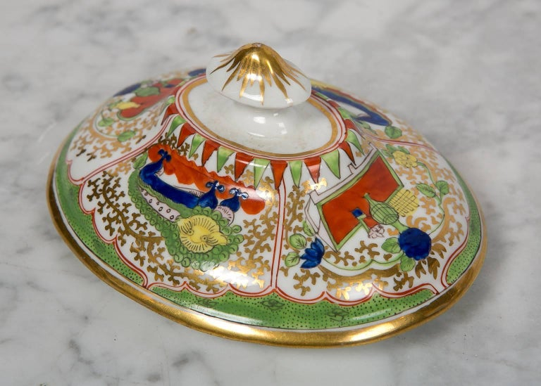 Antique Sugar Box Made by Chamberlains Worcester Bengal Tiger Pattern For Sale 1