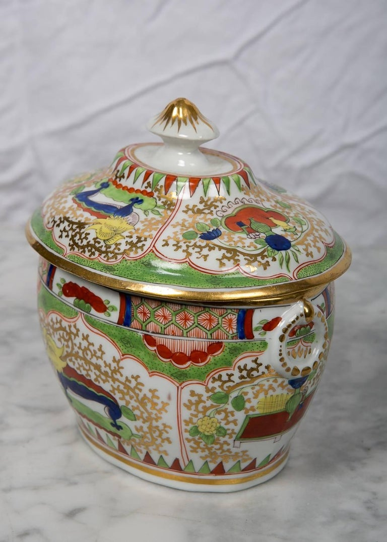 Hand-Painted Antique Sugar Box Made by Chamberlains Worcester Bengal Tiger Pattern For Sale