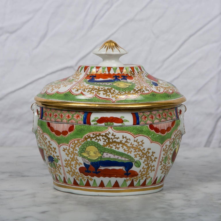 Porcelain Antique Sugar Box Made by Chamberlains Worcester Bengal Tiger Pattern For Sale