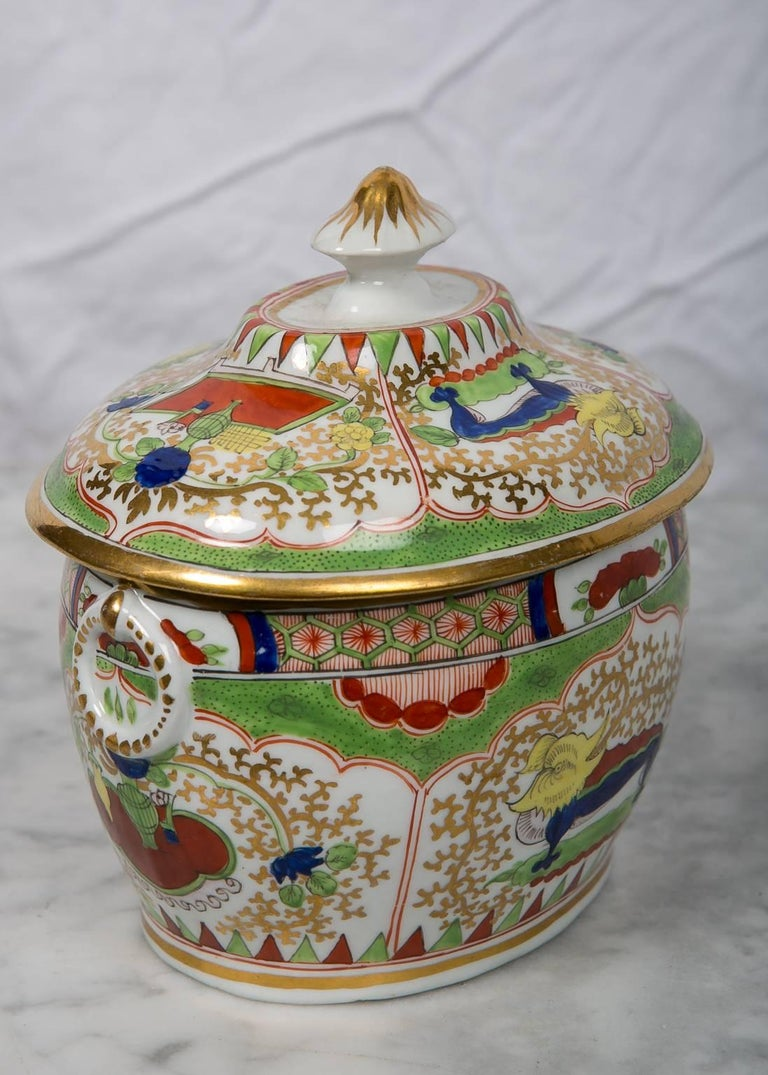 English Antique Sugar Box Made by Chamberlains Worcester Bengal Tiger Pattern For Sale