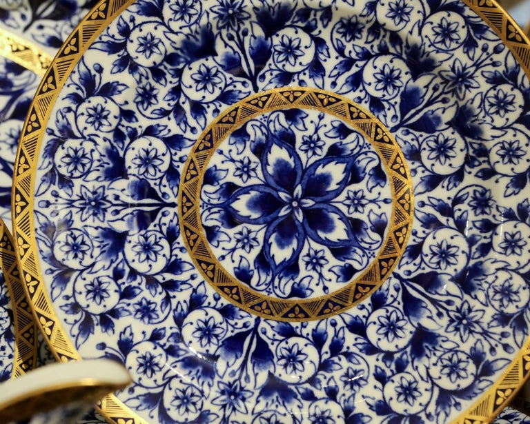 19th Century Blue and White Porcelain Dinner Service Antique Royal Crown Derby For Sale