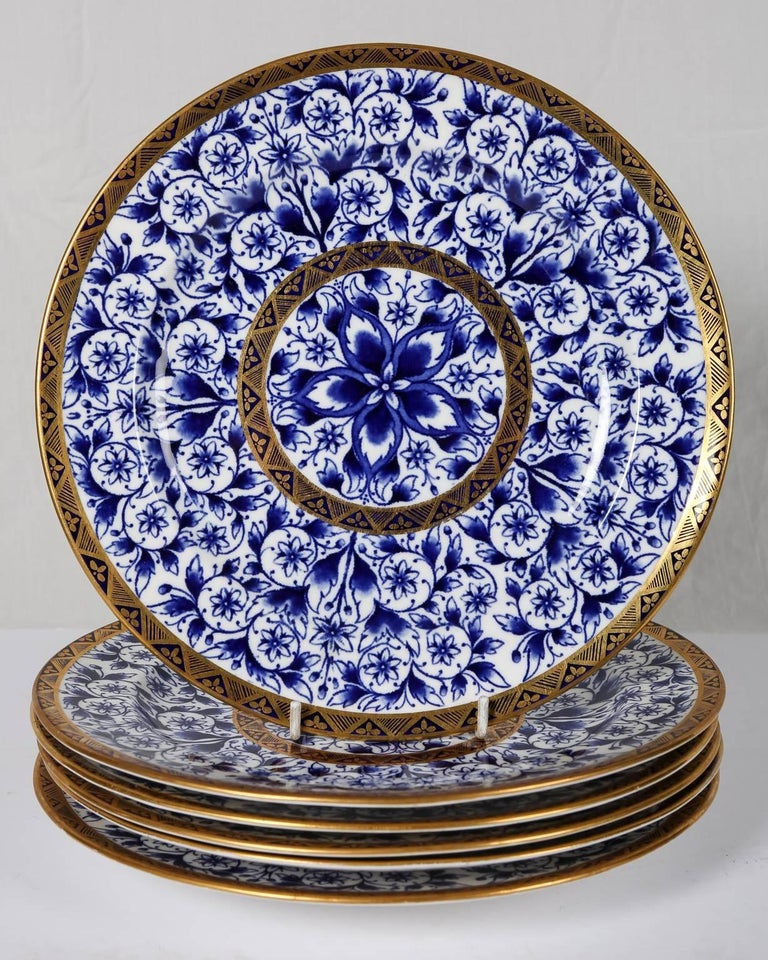 Blue and White Porcelain Dinner Service Antique Royal Crown Derby For Sale 8
