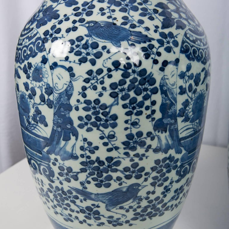 Hand-Painted Antique Chinese Blue and White Covered Jars with Boys For Sale