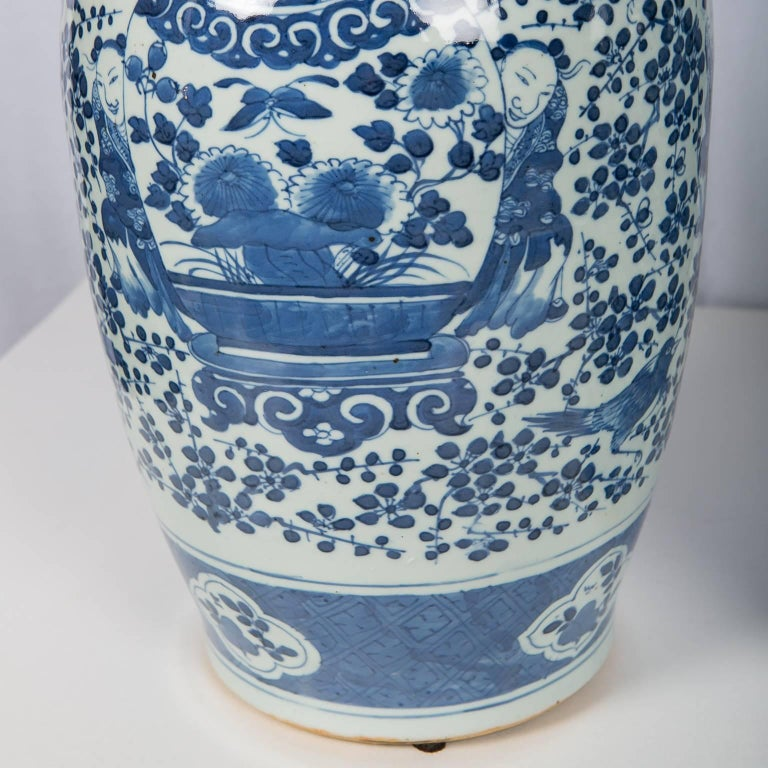 Antique Chinese Blue and White Covered Jars with Boys For Sale 2