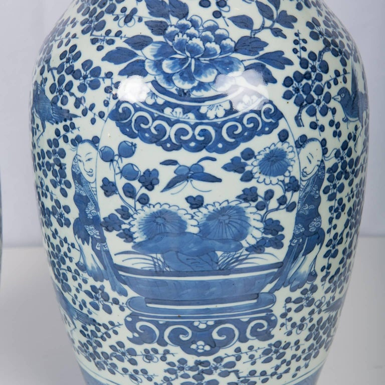 Antique Chinese Blue and White Covered Jars with Boys For Sale 1