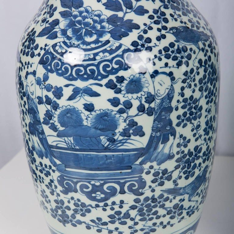 Antique Chinese Blue and White Covered Jars with Boys For Sale 3