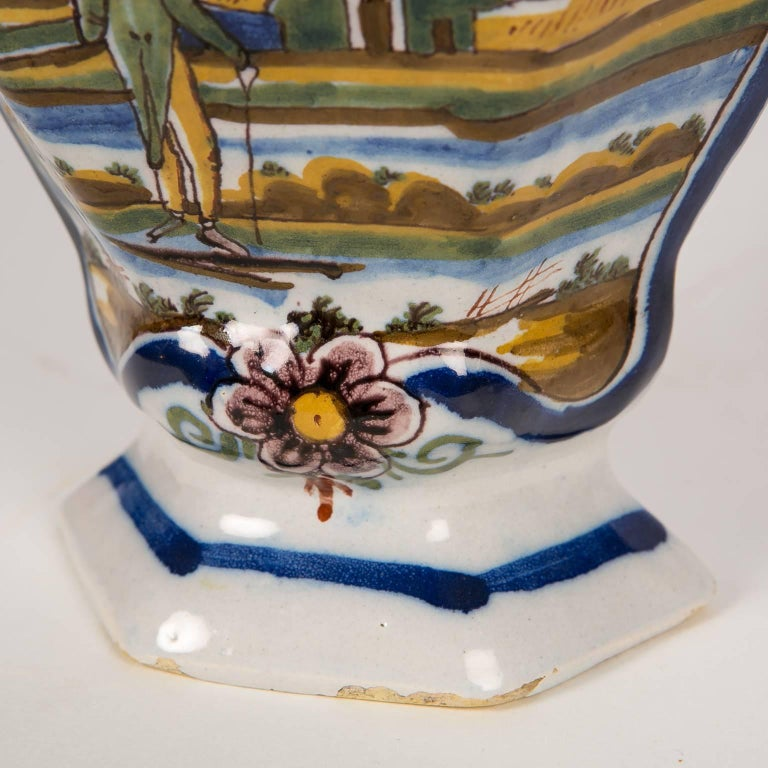 Pair Of Delft Mantle Vases Painted Polychrome Colors In Stock For