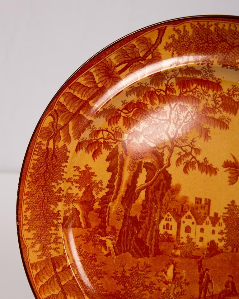 Two 'Bisham Abbey' Pattern dishes with rich, red printing on a chalcedony ground. Made by Davenport the dishes date from the early 19th century, circa 1810. The red transfer on the chalcedony ground is quite intense. The two dishes are a matching