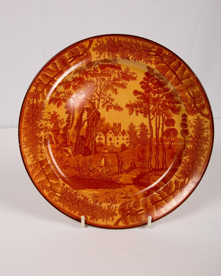 English Red Transfer ware Dishes For Sale