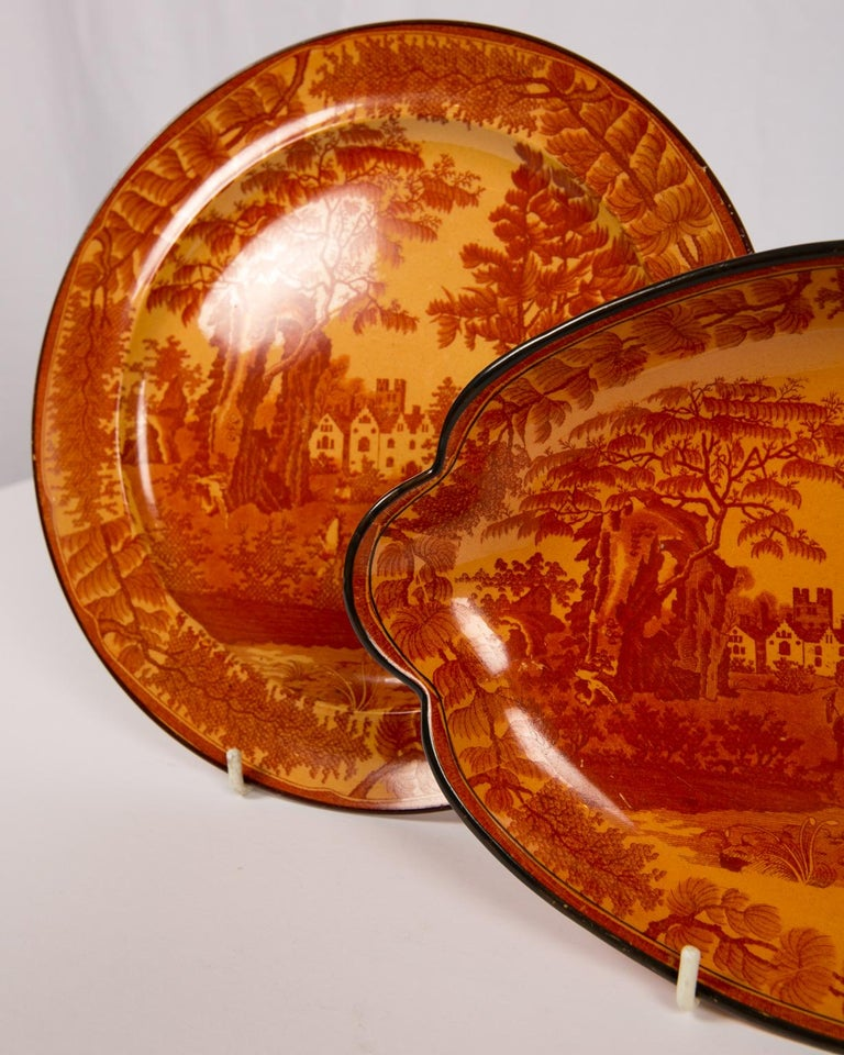 Red Transfer ware Dishes For Sale 4