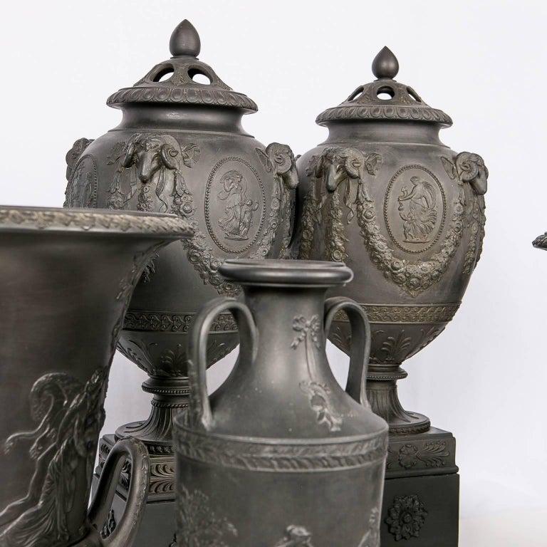 Molded Collection Wedgwood Black Basalt Vases For Sale