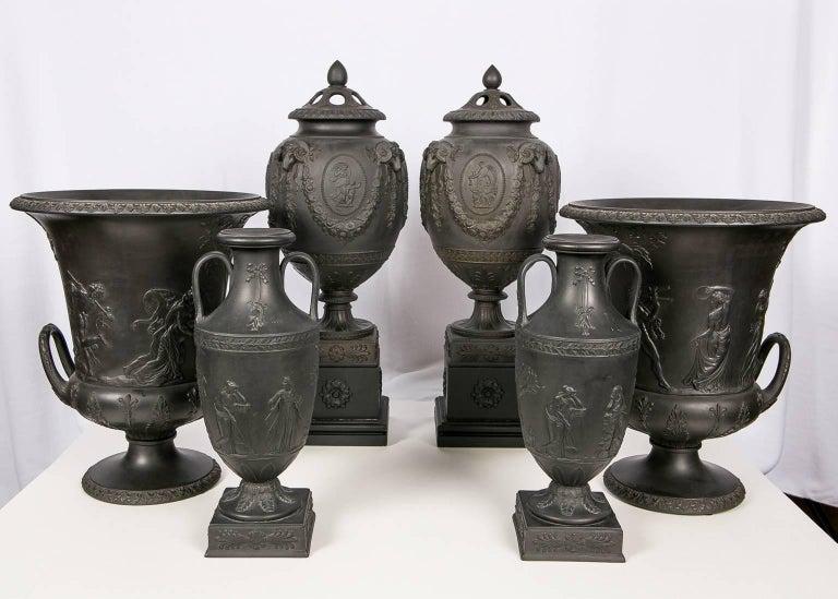 English Collection Wedgwood Black Basalt Vases For Sale