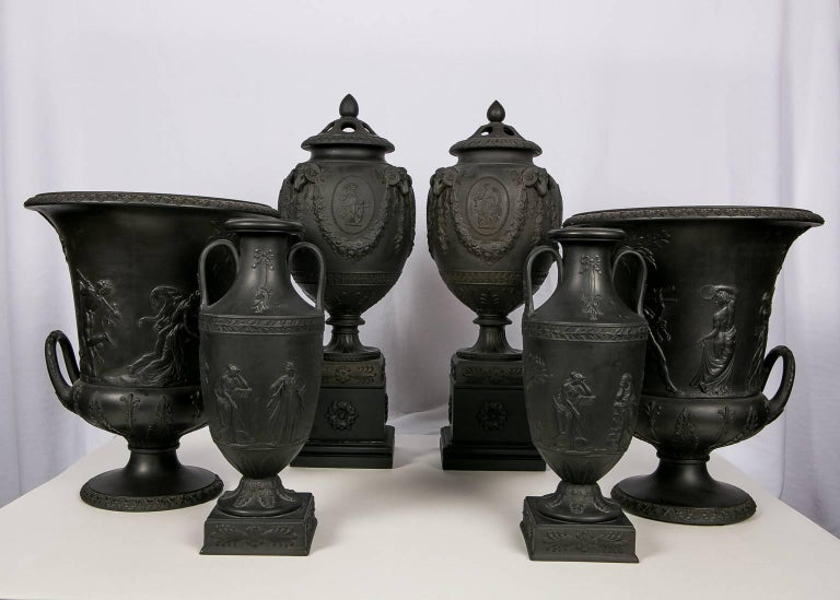 Neoclassical Collection Wedgwood Black Basalt Vases For Sale