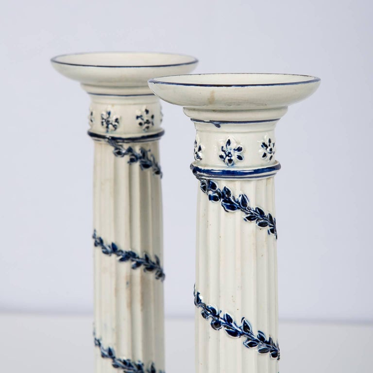 English Wedgwood Blue and White Candlesticks with Neoclassical Design For Sale