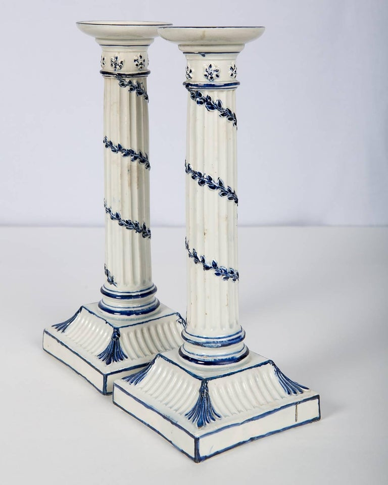 Painted Wedgwood Blue and White Candlesticks with Neoclassical Design For Sale