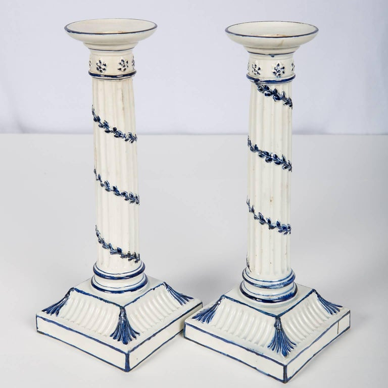 Wedgwood Blue and White Candlesticks with Neoclassical Design In Excellent Condition For Sale In New York, NY