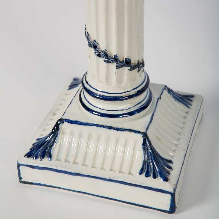 Early 19th Century Wedgwood Blue and White Candlesticks with Neoclassical Design For Sale