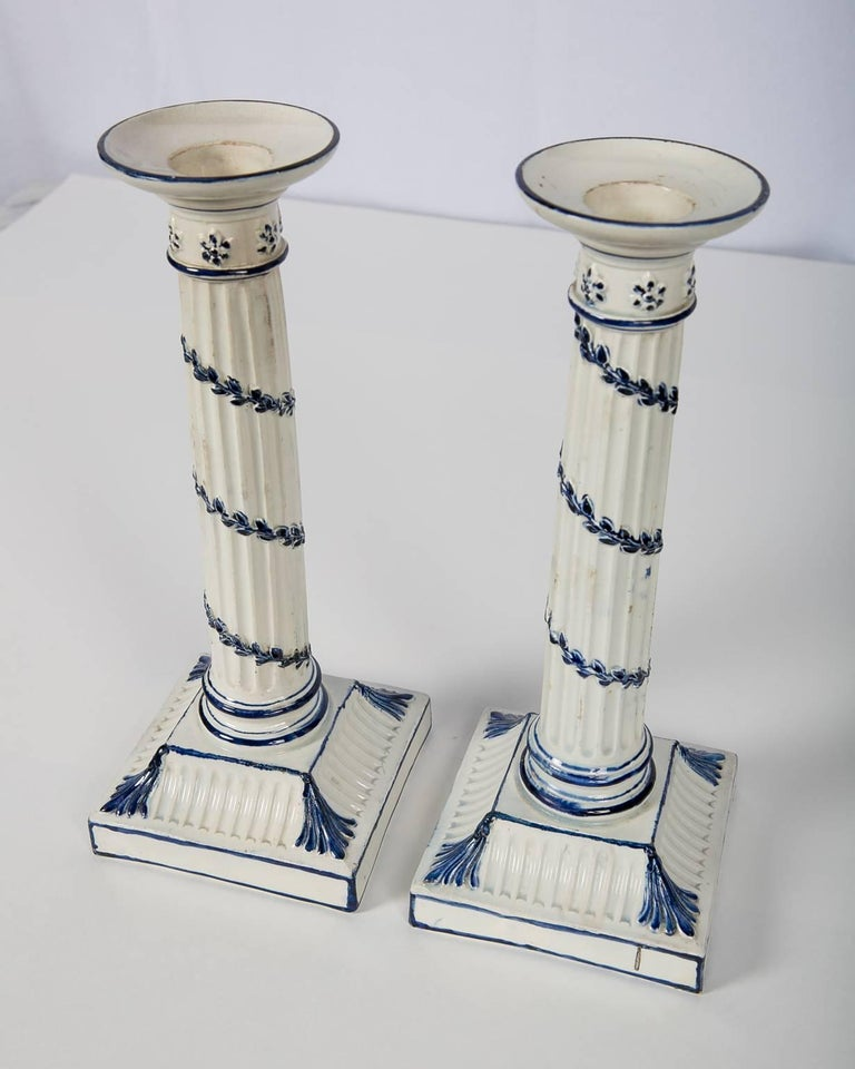 Creamware Wedgwood Blue and White Candlesticks with Neoclassical Design For Sale