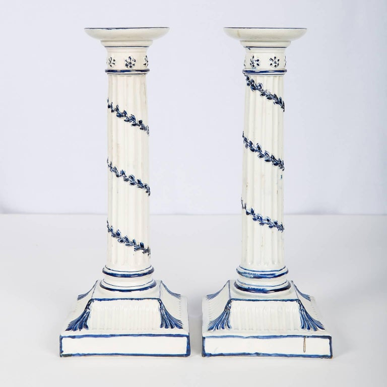 Wedgwood Blue and White Candlesticks with Neoclassical Design For Sale 2