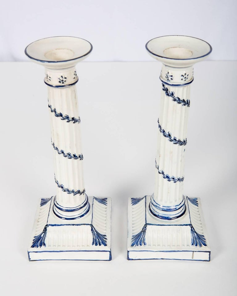 Wedgwood Blue and White Candlesticks with Neoclassical Design For Sale 1