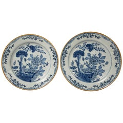 Pair of Antique Delft Blue and White Chargers Showing a Garden Scene