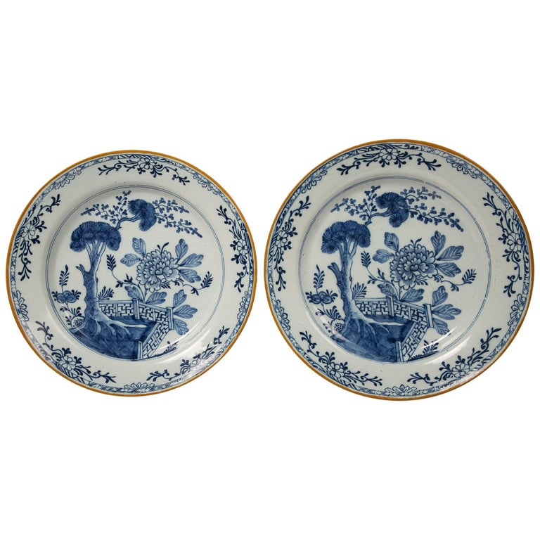 Pair of Antique Delft Blue and White Chargers Showing a Garden Scene circa 1780
