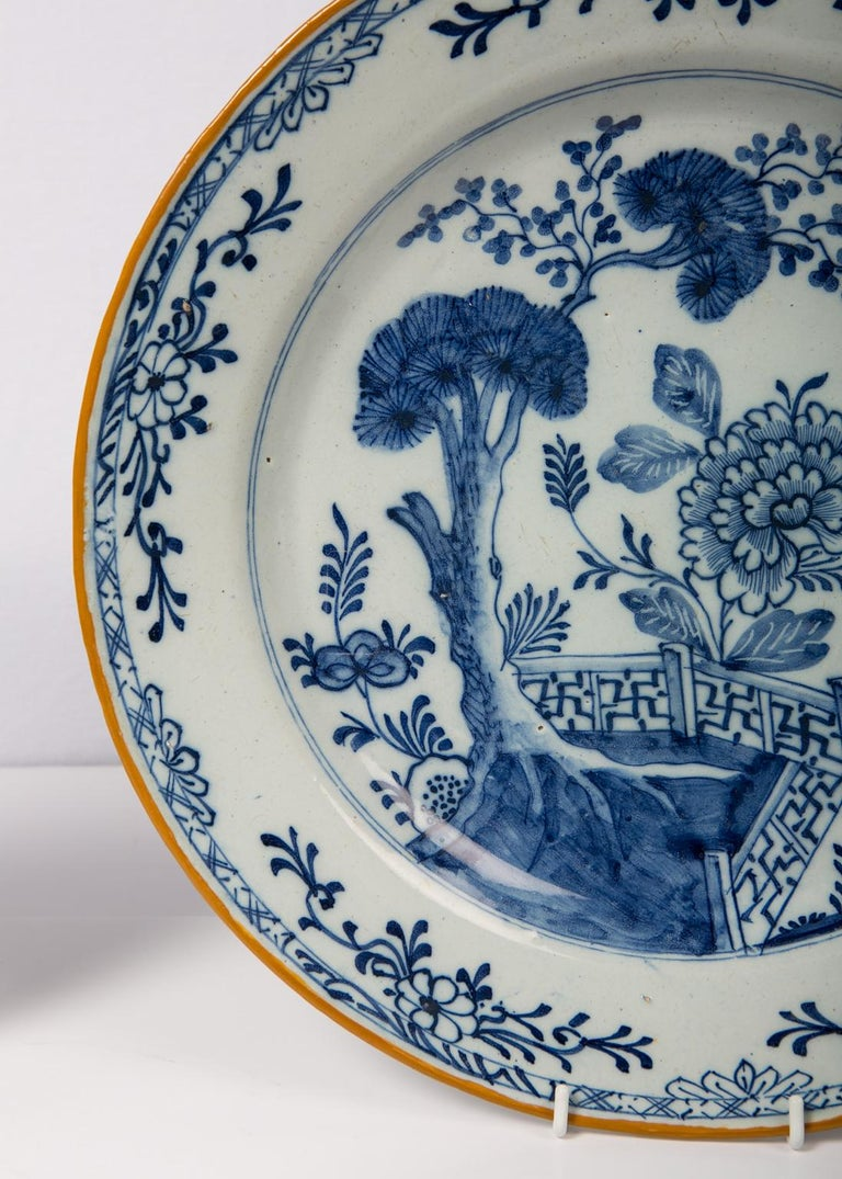 Pair of Antique Delft Blue and White Chargers Showing a Garden Scene circa 1780 1