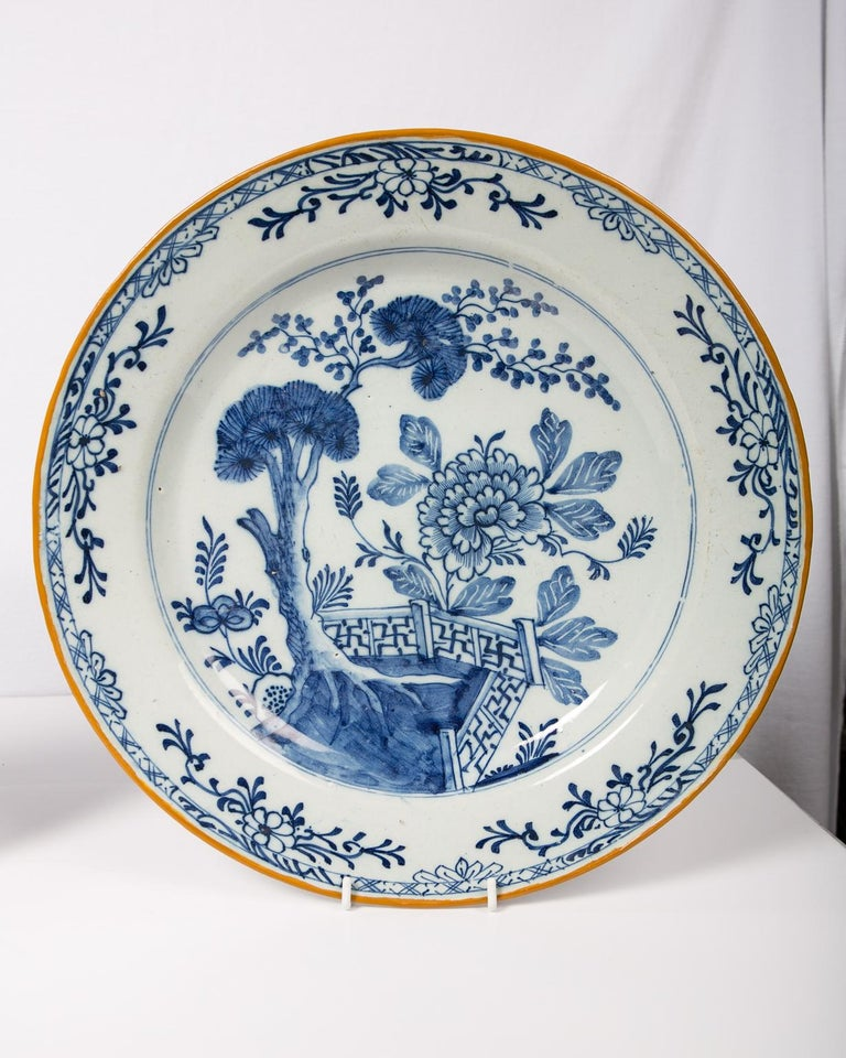 Pair of Antique Delft Blue and White Chargers Showing a Garden Scene circa 1780 2