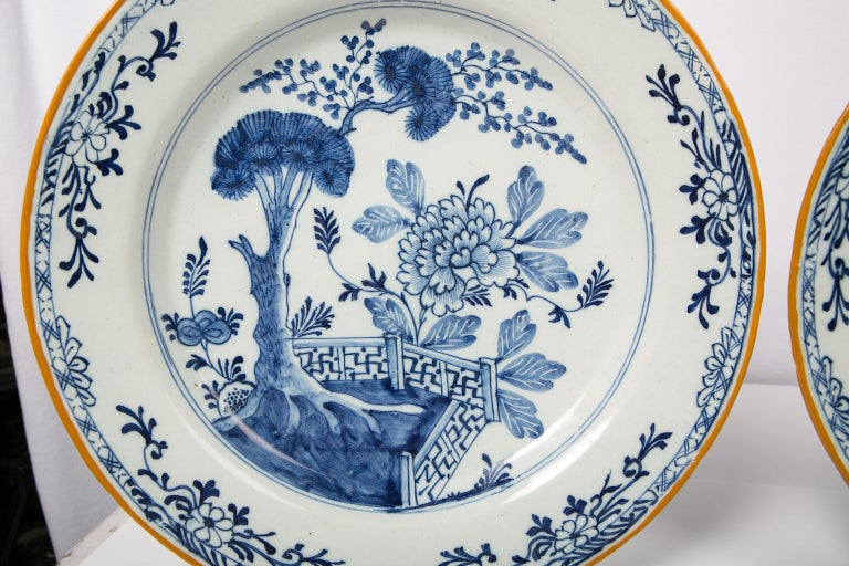Pair of Antique Delft Blue and White Chargers Showing a Garden Scene circa 1780 3