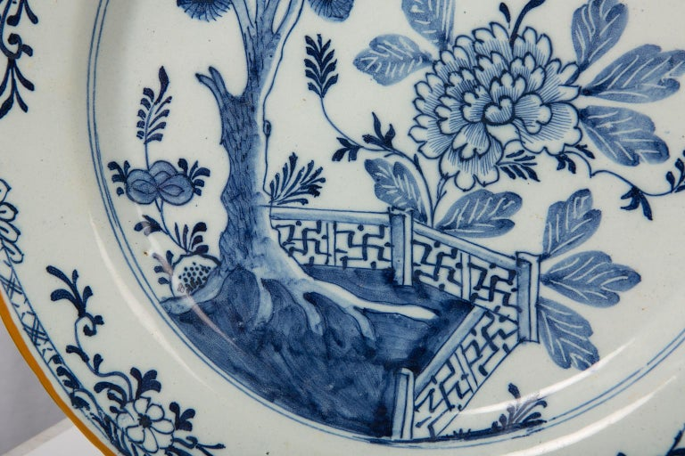 Pair of Antique Delft Blue and White Chargers Showing a Garden Scene circa 1780 4