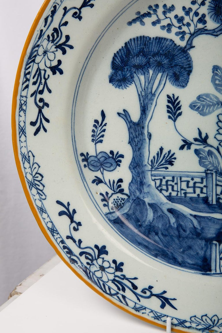Pair of Antique Delft Blue and White Chargers Showing a Garden Scene circa 1780 5