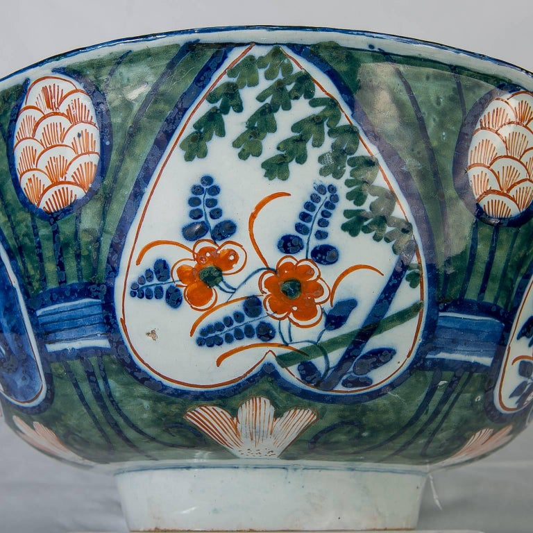 Antique Dutch Delft Punch Bowl with Green Ground 2