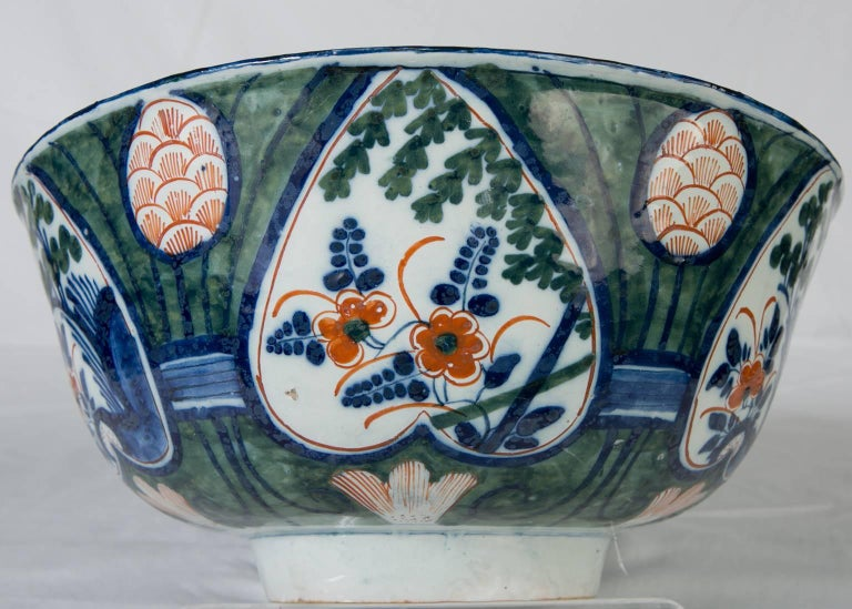 Antique Dutch Delft Punch Bowl with Green Ground 4