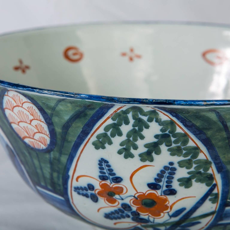Antique Dutch Delft Punch Bowl with Green Ground 8