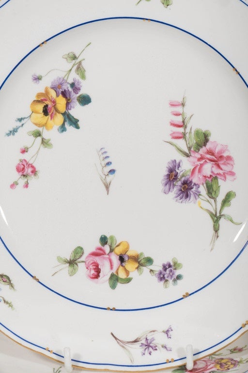 A set of a dozen 18th century Sèvres porcelain dishes made circa 1785. They are painted with exceptionally beautiful sprays of flowers in soft pinks, purple and yellow. The border is blue lined with a gilt-line rim. The dishes are in excellent