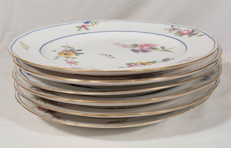 French  Dozen Sèvres Porcelain Dishes   For Sale