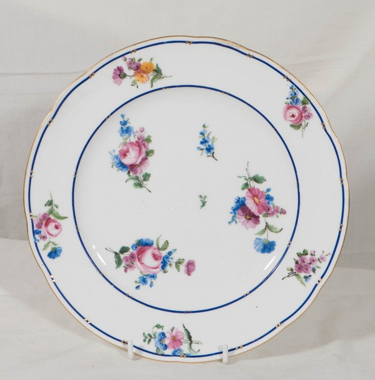 18th Century  Dozen Sèvres Porcelain Dishes   For Sale